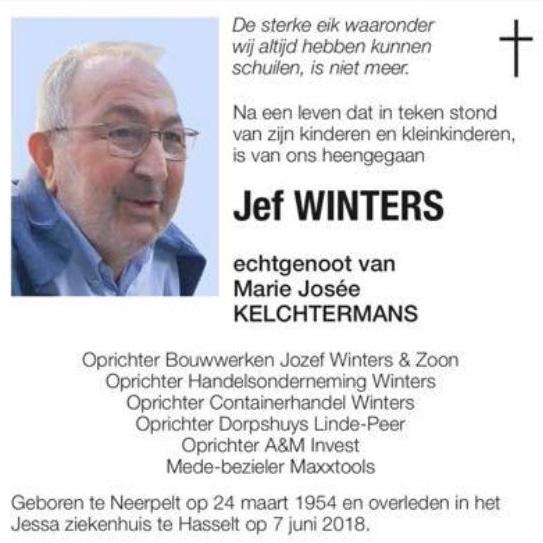 Overlijden Jef Winters | Containerhandel Winters